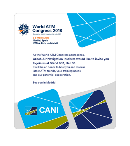 Czech Air Navigation Institute will be exhibiting at World ATM Congress 2018 in Madrid, 6-8 March