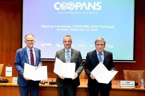 left to right: Jean-Marc Alias, VP Air Traffic Management Thales; Thomas Hoffmann, COO of Austro Control and Chairman of the COOPANS Alliance Board and Jorge Ponce de Leao, President of NAV Portugal at the signing ceremony on September 18 in Brussels.