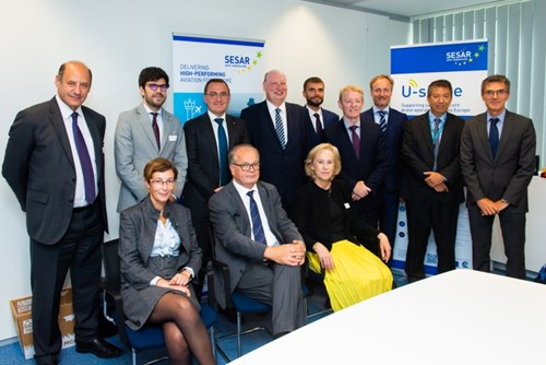All attendees at the signing of the Memorandum of Understanding between SESAR Deployment Alliance (SDA), acting as the SESAR Deployment Manager (SDM), and EUROCONTROL