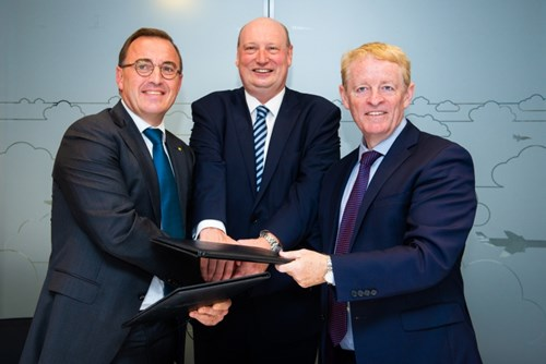 From left: Nicolas Warinsko, General Manager of the SESAR Deployment Alliance, Henrik Hololei, Director General of DG MOVE and Eamonn Brennan, Director General of EUROCONTROL