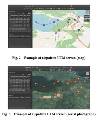 Fig. 2  Example of airpalette UTM screen (map) Fig. 3  Example of airpalette UTM screen (aerial photograph)