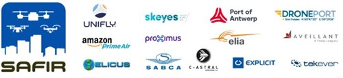SFAIR Consortium - SAFIR stands for Safe and Flexible Integration of Initial U-space Services in a Real Environment. Led by Unifly, the SAFIR consortium consists of the following organisations: Amazon Prime Air, Aveillant, C-Astral, DronePort, Elia, Explicit, Helicus, the Port of Antwerp, Proximus, SABCA, skeyes and Tekever