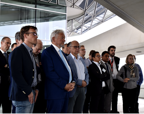Second from the left: François Bellot - Belgian Federal Minister of Transport - watching the live demonstration on the bridge of the Port of Antwerp building