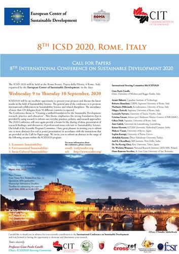 ICSD 2020 : 8th International Conference on Sustainable Development, 9 - 10 September 2020 Rome, Italy